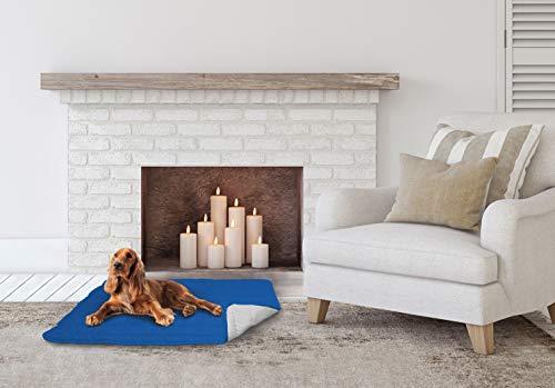 Elegant CSROYALGRIGIOCHIARO60 Cuscinetto Imbottito per Cani, Microfibra Poliestere Anallergico, Royal/Grigio Chiaro, 60 x 100 cm