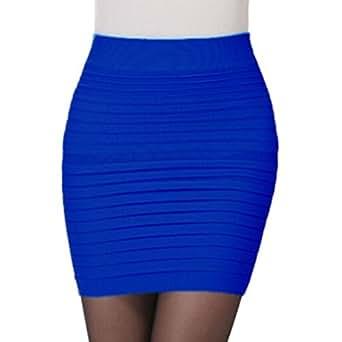 Femmes de mode Jupe plissée élastique Jupe haute taille Forfait hip jupe courte (Taille libre, Bleu)