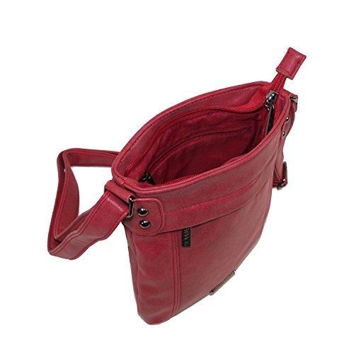 New Bags Kleine Damen Umhängetasche Handtasche 21 x 24 cm Rot