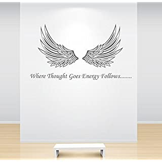 60 Second Makeover Limited Angel Wings Wall Sticker Where Thought Goes Energy Follows Decal Quote Crystal Healing