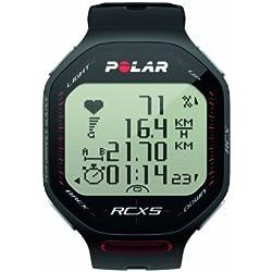 Pack Polar RCX5 GPS (incluye G5) - Reloj para triatlón con pulsómetro con GPS externo G5 (incluido), sumergible, sensor de velocidad (negro)
