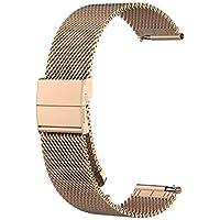 WEINISITE 20mm Stainless Steel Strap for Garmin Forerunner 245/Garmin Vivoactive 3/Garmin Vivomove HR/SamSung Gear Sport R600/SamSung galaxy watch R810(42mm)/Ticwatch-C2 Smart Watch