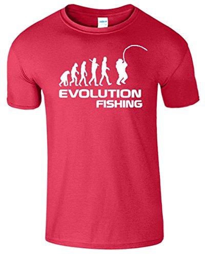 Fishing Evolution Komisch Geburtstag Geschenk Herren T-Shirt Antik Kirschrot / Weiß Design