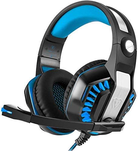 CamKing Casque de Jeu, GM-2 Game Headset, Casque stéréo Multi-Fonctionnel avec Microphone, Bass Surround et Douilles de mémoire Douce pour PS4, PC, Xbox One et téléphone Portable (Noir + Bleu)