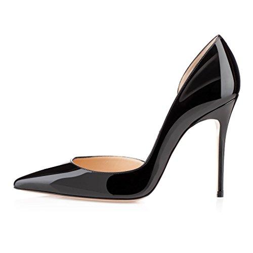 EDEFS Femmes Artisan Fashion 100mm Escarpins Classiques PointusDes Couleurs Chaussures à talon haut Bleu Noir Brillant