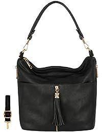 CRAZYCHIC - Women s Hobo Tote Shoulder Handbag - Tassel Multi Pockets  Zipper Shoulder Bag - Soft Smooth Faux Genuine Leather Style Bucket… 91786ccc03837