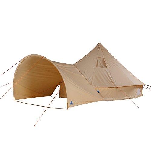 10T Camping-Zelt Desert 10+ wasserdichtes Familienzelt Tipi  aus Baumwolle-Mischgewebe + Sonnendach
