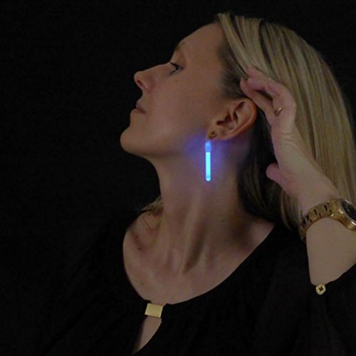 Decotrend-Line 1 Paar Ohrringe Luminosi Neon Glow Party LED blau 281004
