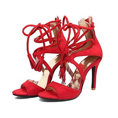 LvYuan Da donna-Sandali-Ufficio e lavoro Formale Serata e festa-Altro-A stiletto-Felpato-Nero Rosso Tessuto almond Black