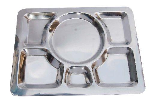 Insideretail Rectangle Plaque de Indien en Acier Inoxydable avec 6 Compartiment, Argent, 40 x 30 x 2 cm, Lot DE 12