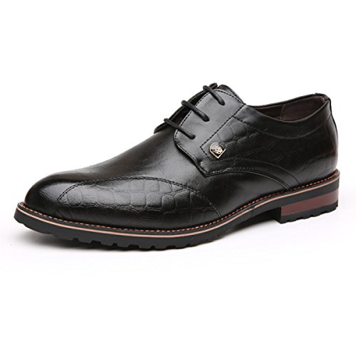 GRRONG Chaussures En Cuir Pour Hommes D'affaires Loisirs Pointu Noir Marron Black