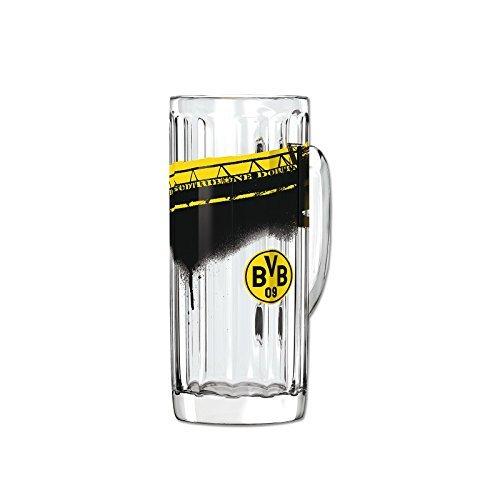 BVB Pilsglas Südtribüne 0,5 L, Glas, Schwarz / Gelb, 5 x 5 x 15 cm