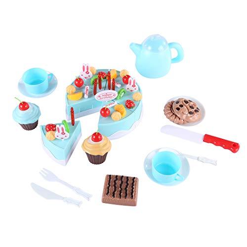 DAN DISCOUNTS Kuchen Schneiden Spielzeug Set,54 Stück Schneidspielzeug für Kinder, Küchenspielzeug für Kinderküche-Blau (Set Schneiden Kuchen)