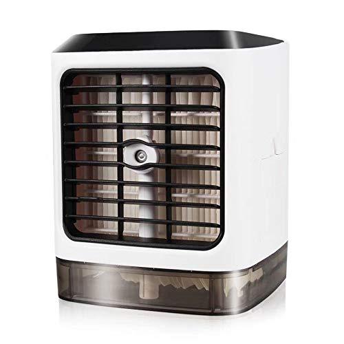 Huainiu Tragbar Klimaanlage BüRo Mobil Ventilator Jalousie USB Luftbefeuchter Sommer KlimageräT Ohne Abluftschlauch Leise Klein Ventilator Schreibtisch Quadratisch 7 Farbige Led -
