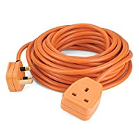 SIMBR 10M Extension Lead Cable Heavy Duty Cord Wire with 1-Gang 13A Plug Socket H05VV-F 3*1.5 Orange