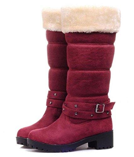 bottes de neige chauds Dongkuan avec des bottes à talons carrés en bottes de mat wine red