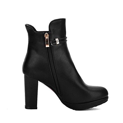 AllhqFashion Damen Niedrig Spitze Reißverschluss Weiches Material Hoher Absatz Stiefel Schwarz