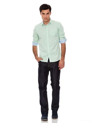 SPRINGFIELD - Chemise manches longues en coton fil à fil et boutons sur le col - Homme Bois