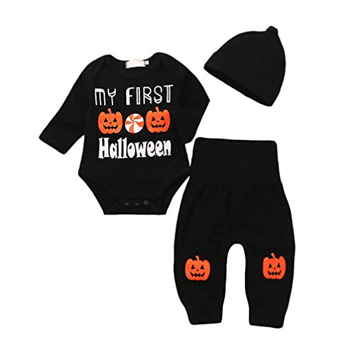 Baby Strampler Tops Kürbis Prin Hosen Cap Halloween Kleidung Sets (Black, 6-12 Monate) ()