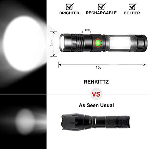 REHKITTZ Linterna LED Recargable Alta Potencia Militar COB Ajustable Portátil Linterna para Reparación del Coche,  y Emergencia,  Ciclismo,  Camping,  Montañismo (Con USB 18650 Batería & Base Magnético)