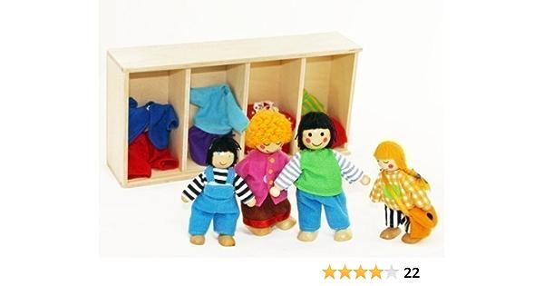 Biegepüppchen Piraten Set Puppe Piratenschiff Biegepuppen aus Holz für Kinder