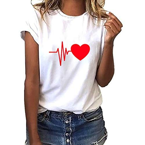 iHENGH Damen Top Bluse Bequem Lässig Mode T-Shirt Frühling Sommer Blusen Frauen Lose Oansatz Spitze der Art und Weisefrauen kurzärmliges Herz Druck(D, M)