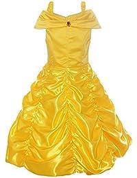 Pettigirl Niñas Princesa Dorada Belleza Traje Mágico Fantasía Vestir