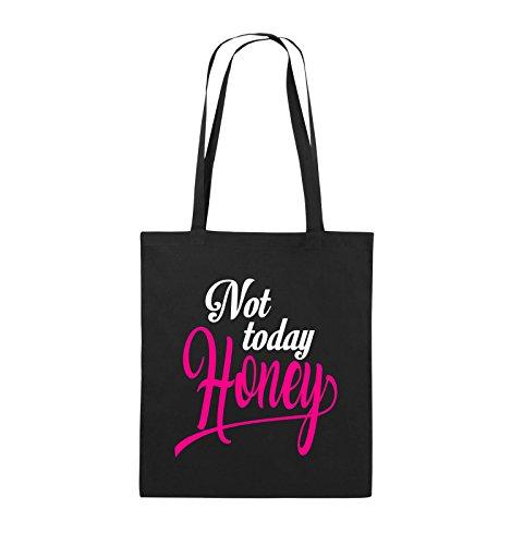 Comedy Bags - Not today Honey - Jutebeutel - lange Henkel - 38x42cm - Farbe: Schwarz / Weiss-Neongrün Schwarz / Weiss-Pink