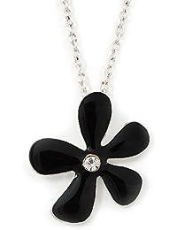 9a2b18e479b2 Esmalte negro lámpara de techo colgante con diseño de flores tono plateado  - cadena de eslabones