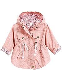 TOOGOO(R)Ninos chicas Chaqueta Ropa de punto de polca estampado Vestido exterior de bebe Capa de foso de chica Rosa M