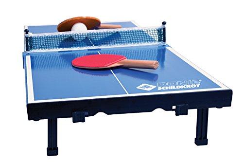 Donic-Schildkröt Tischtennis-Mini-Tisch, Mini-Tischtennistischplatte, komplettes Set mit 2Schlägern und 1Ball, Platte zusammenklappbar -Aktenkoffer-Größe, Blau, Abmessungen Platte: 68x33x9cm,838576