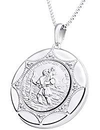 Farjary Jewelry - Collar de plata de ley 925 con diseño de San Cristóbal y camafeo
