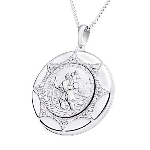 hristophorus rundes Foto Medaillon Silber 925 Sterling Silber, für Reisende, in Geschenkbox ()