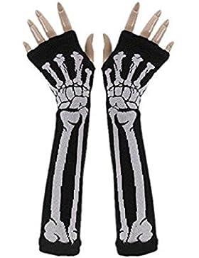 ZJENE31 Unisexo Punk GóTico Color Blanco Esqueleto Halloween Brazo Largo Warmer Fingerless Guantes