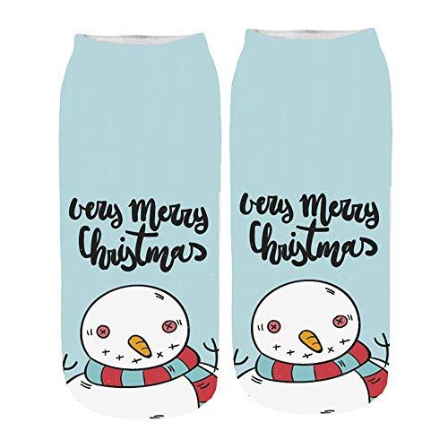 Huhu83 Weihnachten Socken, Damen 3D Drucken Socken Cartoon Funny Cute Erstaunliche Neuheit Drucken Söckchen Kurze Socken (F) - Neuheit Drucken Kurze