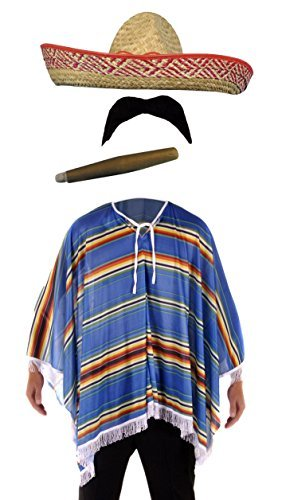 Henbrandt Mexican Poncho with Cigar Moustache and Sombrero Test