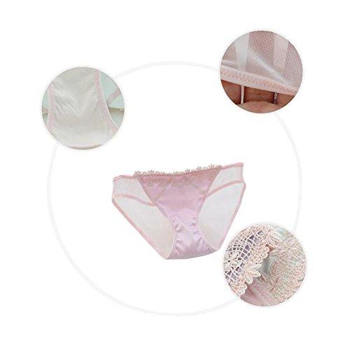 Zhuhaixmy 2Pcs Damen Lace Bowknot Transparent Unterwäsche Niedrige Taille Nahtlos Slip 16#