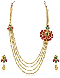 PALASH BEAUTIFUL FLORAL DESIGNER GOLD PLATED FOUR STRINGS LONG NECKLACE SET FOR WOMENS