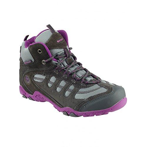 Hi-Tec Penrith - Chaussures montante de randonnée imperméables - Enfant unisexe Gris/Violet
