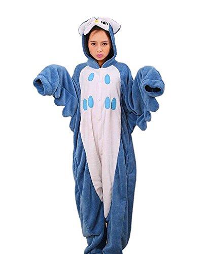 SAMGU Eule Unisex Adult Tier Onesie Pyjama Kostüm Kigurumi Schlafanzug Erwachsene Tieroutfit Jumpsuit Farbe Blau Größe L (Halloween-pyjama Adult)