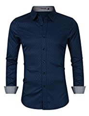 Idea Regalo - KUULEE Camicia Uomo Slim Fit Elegante Manica Lunga Casual Formale