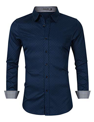 KUULEE Herren Jeanshemd Slim Fit Langarmhemd - Baumwolle/Denim - für Anzug, Business, Freizeit (L / DE 38, Dunkelblau(diamant-gitter))