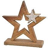 matches21 Sterne Dekofigur Weihnachtsdekoration Holz & Metall Aufsteller Figur Weihnachten Silber/braun 1 STK 20x21 cm