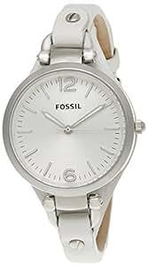 Fossil - ES2829 - Montre Femme - Quartz Analogique - Bracelet Cuir Blanc