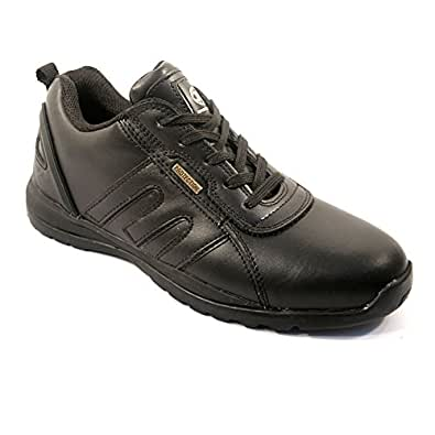 MENS SAFETY TRAINERS SHOES BOOTS WORK STEEL TOE CAP HIKER ANKLE BLACK LEATHER (6 UK)