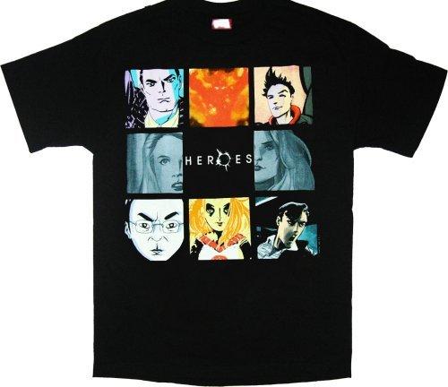 nbc-heroes-character-squares-black-t-shirt-tee-xl