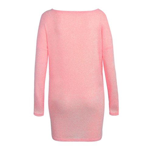 Vovotrade Womens Sexy Casual à manches longues V Neck Jumper Sweaters Coat Blouse Rose