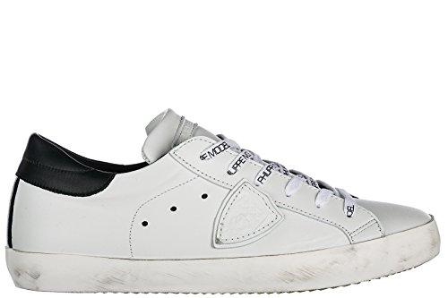 Philippe Model Chaussures Baskets Sneakers Homme en Cuir Paris Blanc