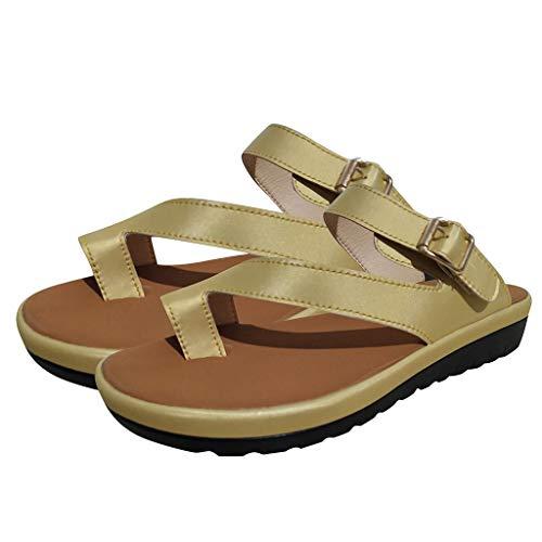COZOCO Frauen Rom dick unten Sandale Schuhe Gürtel Schnalle Sandalen Clip Toe Sommer Strandschuhe(Gold,41 EU)