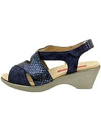 Calzado mujer confort de piel Piesanto 8861 sandalia cuña plantilla extraíble cómodo ancho